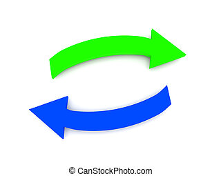 Transfer. Green and blue arrows isolated on white background. High quality 3d render.