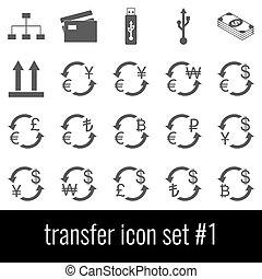 Transfer. Icon set 1. Gray icons on white background.