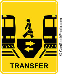 Transfer railway station - black and yellow vector information sign