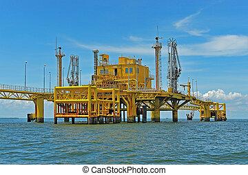transferencia, aceite, plataformas