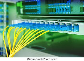 transferencia de datos, por, fibra óptica, información,...