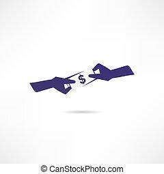 transferencia, dinero, mano