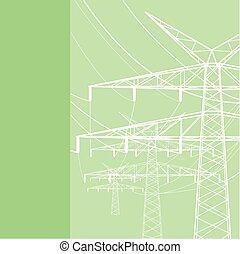 transferencias, línea, electrics, potencia