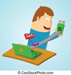 transfering, data