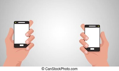 Transferring money by smartphone HD animation