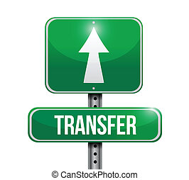 transfert, conception, route, illustration, signe