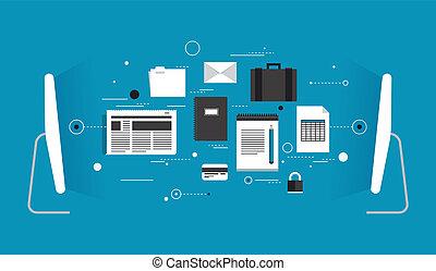 transfert, données, illustration, plat