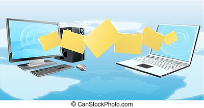 transfert, ordinateur portatif, fichier