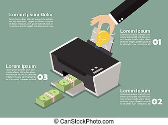 Transform the idea to the money by printer infographic. ...