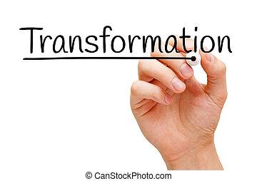 transformación, mano, negro, marcador