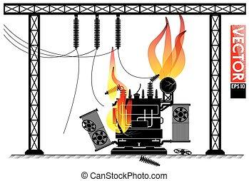 transformador, accidente, potencia, fuego, outage., ...