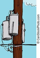 transformador, eléctrico, poste