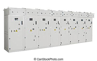 transformador, gabinete, ocho, plano de fondo, blanco, secciones