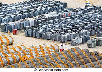 transformador, piso, rollo, cable