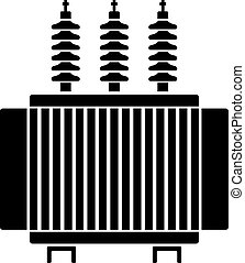 transformador, símbolo, alto, elétrico, voltagem, pretas