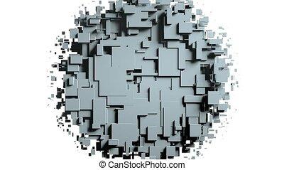 transformando, cubos, parede, experiência., animação 3d
