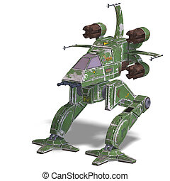 transformando, nave espacial, robô, futurista, scifi
