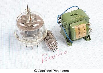 transformateur, vieux, tube), graphique, tube, papier, fond, vide, (electron