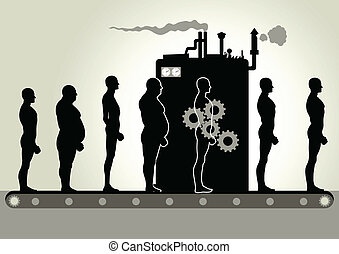 Silhouette illustration of men being transformed by a machine