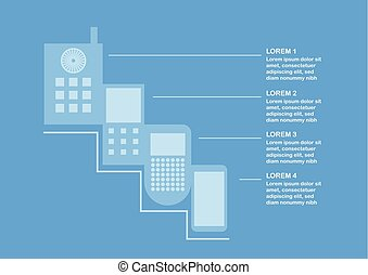Transformation of mobile phone form ancient to present time. Vector illustration isolated on blue background with text space.