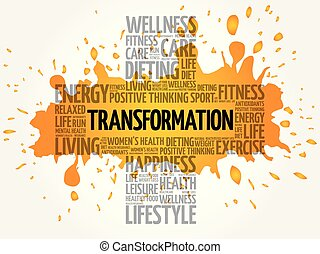 TRANSFORMATION word cloud collage, health cross concept