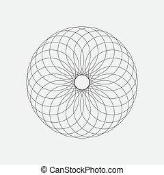 transformations., decoratief, stijl, set, iconen, eenvoudig, vrijstaand, vector, gedaantes, spirograph, ontwerp, achtergrond, geometrisch, witte , communie