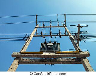 transformator, stromleitungen, und, elektrizität, stangen