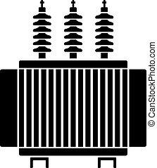 transformator, symbol, hög, elektrisk, spänning, svart