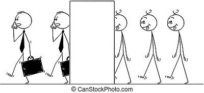 transformer, hommes, vous-même, fou, ligne, dessin animé, hommes affaires