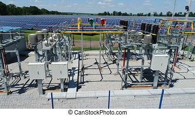 Transformer in a Solar Power Station. Aerial survey - Flight...
