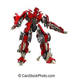 Transformer - Robot transformer isolated on white...