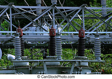 Step down transformers used to lower voltage.