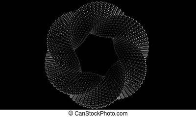 Transforming Mobius torus made of balls. 3D graphics related...