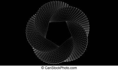 Transforming Mobius torus made of black balls. Loopable...