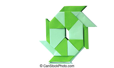 Transforming ninja star origami on white background.