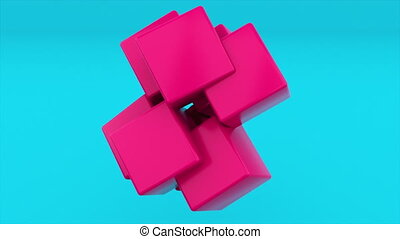 Transforming simple cube shape in complex construction, computer generated. 3d rendering abstract geometric background