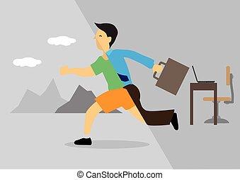 transforms, homme affaires, activity., bureau, loisir