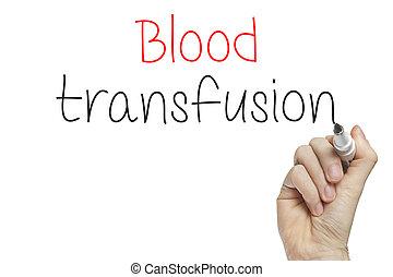 transfusión, mano, sangre, escritura