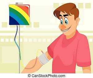 transfusion, grabb, färgad, blod