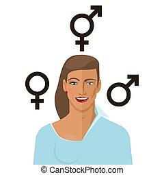 Transgender concept man to woman. vector illustration - eps...