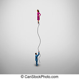 Transgender concept and gender identity symbol or sex reassignment surgery idea as half a man holding a floating balloon with the female part as a metaphor for the struggle and challenges of sexual identity and social acceptance.