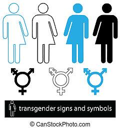 transgender icon and symbol set