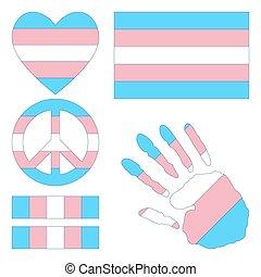 Transgender pride design elements. - Transgender pride flag,...