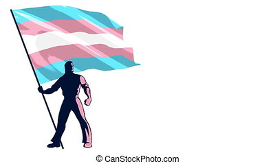 Transgender Pride Flag Bearer - Looping animation of man...