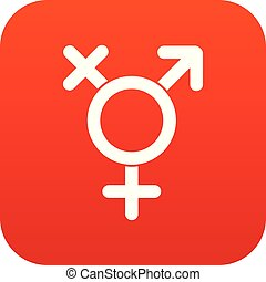 Transgender sign icon digital red for any design isolated on...
