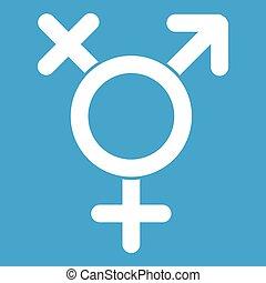 Transgender sign icon white isolated on blue background...
