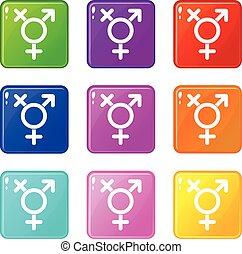 Transgender sign set 9 - Transgender sign icons of 9 color...