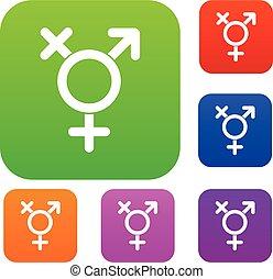 Transgender sign set collection - Transgender sign set icon...
