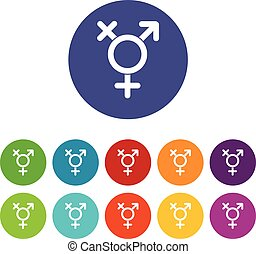 Transgender sign set icons in different colors isolated on...