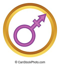 Transgender sign vector icon in golden circle, cartoon style...